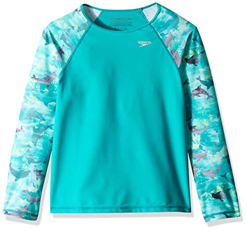 Speedo Block - Speedo Printed Long-Sleeve Rashguard, New Turquoise, Small