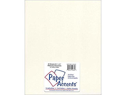 Ivory Linen Cardstock (Accent Design Paper Accents ADPTX8511-20.402 Lite Stock 8.5x11