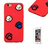 Funyye 3D Silicone Case for iPhone 6 Plus,Stylish Cute Dog Footprint Pattern Soft Gel Flexible TPU Cover for iPhone 6S Plus,Shockproof Non Slip Slim Fit Rubber Durable Shell Bumper Back Protective Case for iPhone 6 Plus/6S Plus 5.5 inch + 1 x Free Screen Protector