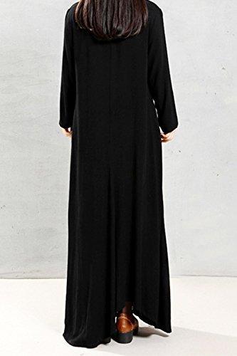 La Mujer Es Elegante De Manga Larga Vestido Drapeado Vestido Maxi Cambio Suelto Black