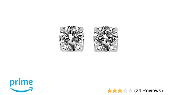 98d976b7c Amazon.com: Round Cut Clear Cubic Zirconia CZ Magnetic Sterling Silver Stud  Earrings 3mm: Diamond Ideal: Jewelry