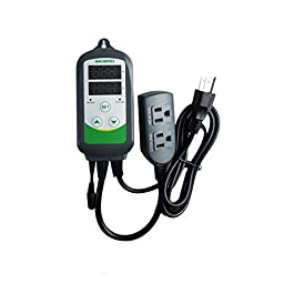 Inkbird Pre-Wired 308S Digital Dual Stage Temperature Controller w/ 1.97\'\' and 12\'\' Replaceable Stainless Probe 110V 1000W for Aquarium Heaters,Reptile,Hatching etc.