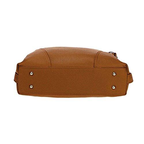 OBC Made in Italy echt Leder Vera Pelle Shopper Henkeltasche Umhängetasche Tasche City Bag Schultertasche 39x39x9 cm (BxHxT) Cognac QWF6R2