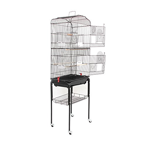 """SUNCOO Large Bird Cage for Parrot Budgie Parakeet Cockatoo Cocatiel Iron Bird Aviary with Stand Pet Supply Black (60 """"H) by SUNCOO"""