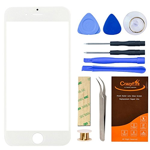 White Replacement Iphone 6 Plus Front Outer Lens Glass Screen,CrazyFire 5.5 Inch Repair Kit Include Screen Lens Glass+1MM Adhesive Tape+Tools Kit+1 Pair Tweezers+1 Roll Gold Wire Screen Seperator