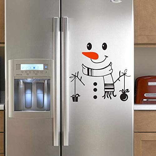 Christmas Snowman Wall Refrigerator Stickers, Cute Sticker Fridge Happy Snowman Kitchen Fridge Wall Refrigerator Vinyl Stickers Art DIY Wall Decal Home Decor (C)