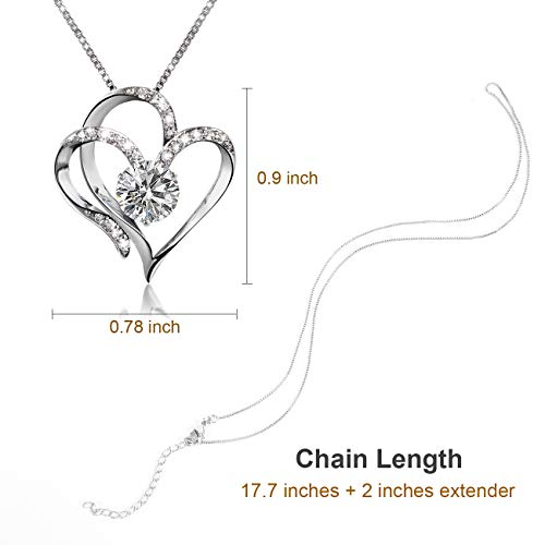 Love Heart Pendant Necklaces for Women Crystal Fashion Jewelry Silver Tone
