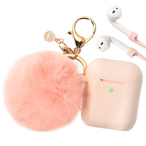 Airpods Case, Filoto Airpod Case Cover for Apple Airpods 2&1 Charging Case, Cute AirPods Silicon Case with Airpods Accessories Keychain/Skin/Pompom/Strap 2019 Summer Series (Cividini Spring Pink)