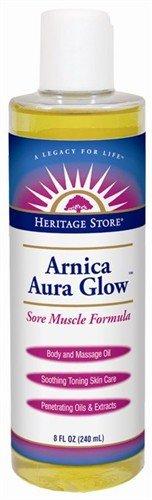 Heritage Store Aura Glow Massage Oil, Arnica, 8 Ounce, Health Care Stuffs