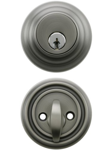 Solid Brass Single Cylinder Low Profile Deadbolt Antique Pewter With 2 3/8