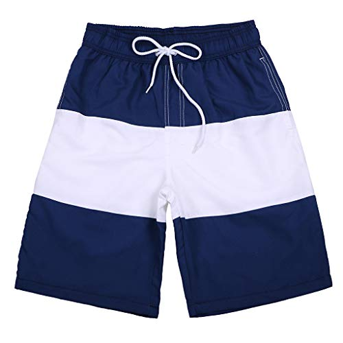 JJLIKER Men's Quick Dry Swim Trunks Colorful Stripe Beach Shorts Beach Drawstring Elastic Waist Watershort and Pockets Dark Blue ()