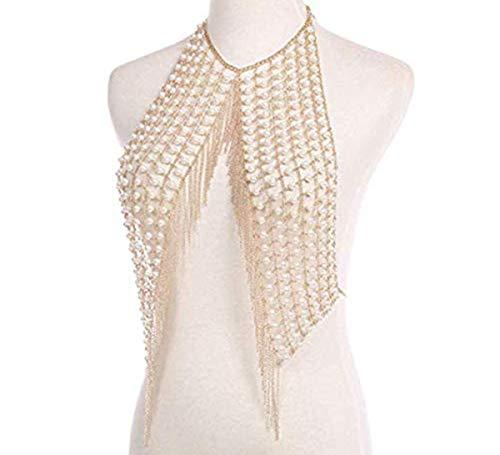 Totalmall Sexy Body Chain, Pearl Bikini Chain Sexy Metal Tassel Chain Harness Shoulder Necklace Body Chain Pearl Stitching Beading ()