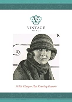 1920s Downton Abbey style flapper hat- knitting pattern-2 needles by [Visage, Vintage]