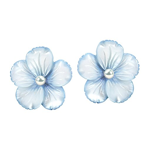 Light Blue Mother of Pearl Flower .925 Sterling Silver Stud - Flower Mother Pearl Of