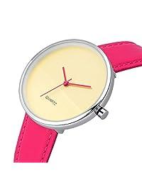 Fendior Woman's Watch Quartz Pink Leather Strap Lady Girls Wrist Watches For Unisex,Simple Face 38mm Case