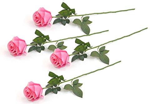 DII 4 Piece Artificial Closed Rose - Natural Silk Flowers For Bridal Bouquet, Home Decoration, DIY, Arts & Crafts Project, Garden, Office Decor, Centerpiece Décor - Light Pink