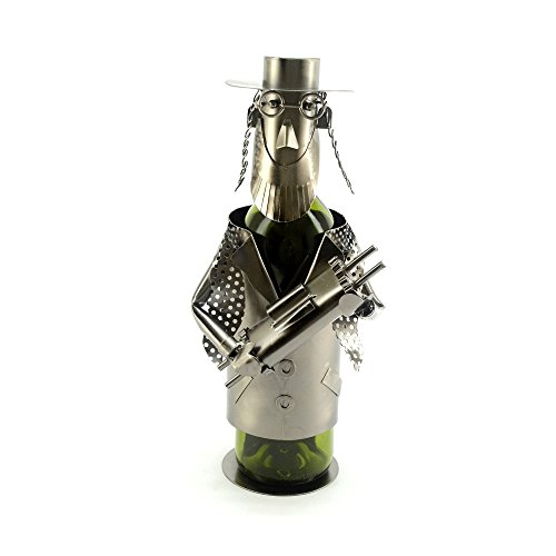 WINE BODIES ZB1000 Jewish Rabbi Wine Bottle Holder Character, Charcoal - Rabbi Wine Bottle