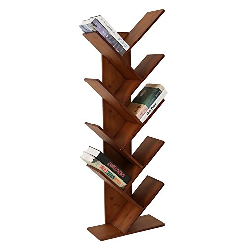 UNICOO - Bamboo 9-Shelf Tree Bookcase, Bookshelf, Special Design Bookshelf, Display Storage Rack for CDs, Movies & Books. (Red Oak - - Low Oak Bookcase
