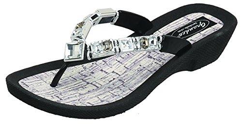 Grandco Womens Flawless Thong Black Sandal 10 M US ()