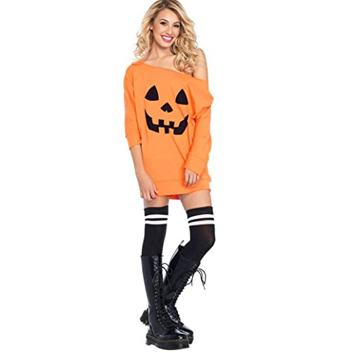 Hula Costume Patterns (TAORE Plus Size Women Cold Shoulder Pumpkin Costume Dress Halloween Fancy Party Mini Dress (EUL=Asian(Tag)XL, Orange))