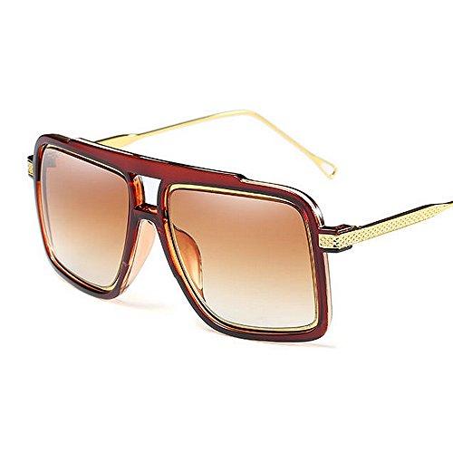gran sol Gu playa UV verano para de punky gafas de gafas Marrón metálicas al conducir mujer de sol de vacaciones Color forma cuadrada para tamaño Peggy Silver libre Protección Estilo aire vd4qwdU
