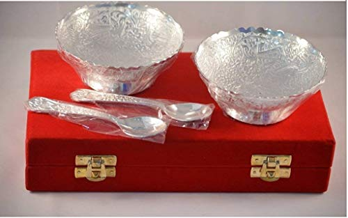 (Indian Accent Silver Plated Brass 2 Bowls,2 Spoons Design with Decorative Gifting Box Set Of 4)