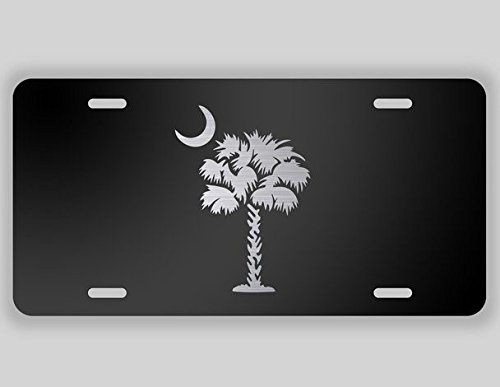 JMM Industries Palmetto Tree Vanity Novelty License Plate Tag Metal South Carolina State Flag 12-Inches by 6-Inches Etched Aluminum UV Resistant ELP012
