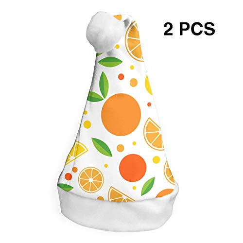 Santa Claus Hat Orange Fruits Merry Christmas Hats Adults Children Costume Xmas Decor Party Supplies (2-Pack) -