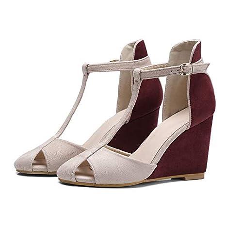 27792e7cc00e4 Amazon.com: DingXiong Shoes Women Pumps High Heels Wedges T-Strap ...