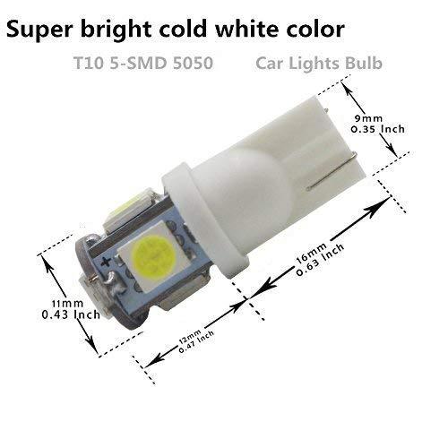 AMAZENAR 20-Pack 24V Blanco 194 T10 168 2825 W5W Bombilla 5050 5 SMD LED iluminaci/ón Interior del autom/óvil para Map Dome Lamp L/ámpara de cortes/ía Luces de la Placa