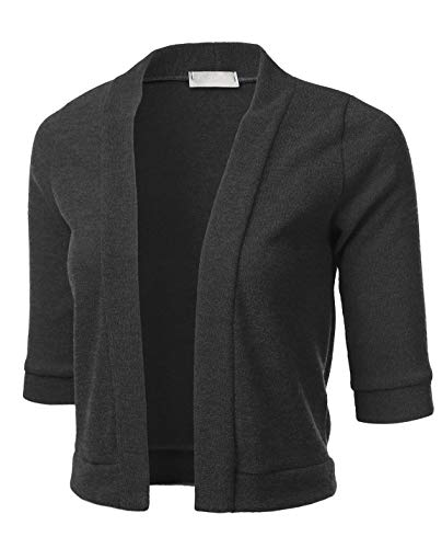 FLORIA Womens Classic 3/4 Sleeve Open Front Cropped Cardigan MELANGECHARCOAL S - Cropped 3/4 Sleeve