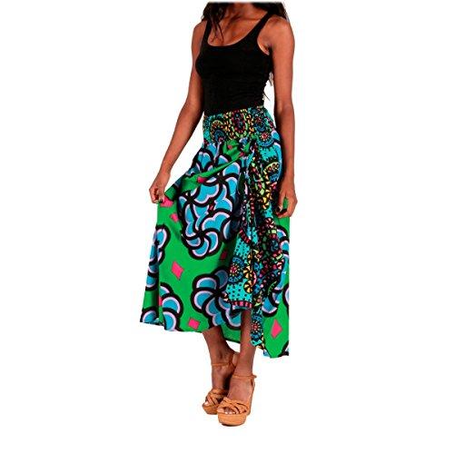 LE ORANGE MOON Jupe Longue Femme imprime - Vert/Multicolore - Coton - S/M