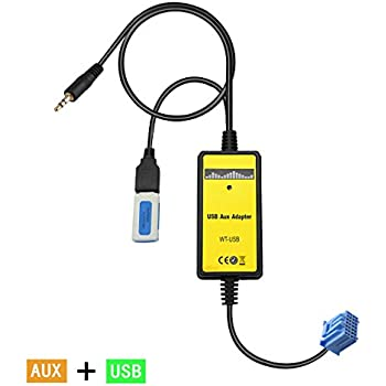 Yomikoo USB AUX Adapter, Car Radio Digital CD Changer 3.5mm Aux input interface for Honda 2.3 1998-2002 Accord,1999-2005 Civic,1999-2004 CRV,1999-2004 Odyssey,Acura 2000-2003 CL