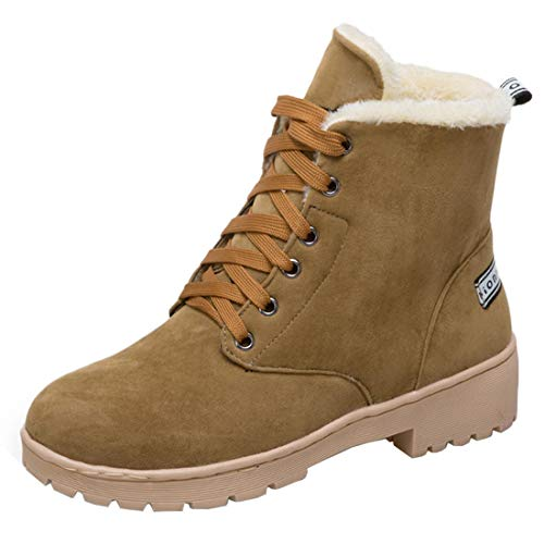 Vitalo Womens Low Heel High Top Fur Lined Lace up Warm Winter Ankle Snow Boots Brown