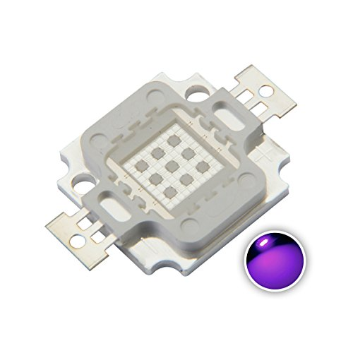 Chanzon High Power Led Chip 10W Purple Ultraviolet (UV 395nm/900mA/DC 9V-11V/10 Watt) SMD COB Light Emitter Components Diode 10 W Ultra Violet Bulb Lamp Beads DIY Lighting ()