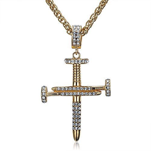 (MCSAYS Stainless SteelAwesome Quality Crystal Nail Cross Pendant Necklace Gifts Wheat Chain Bling Bling)
