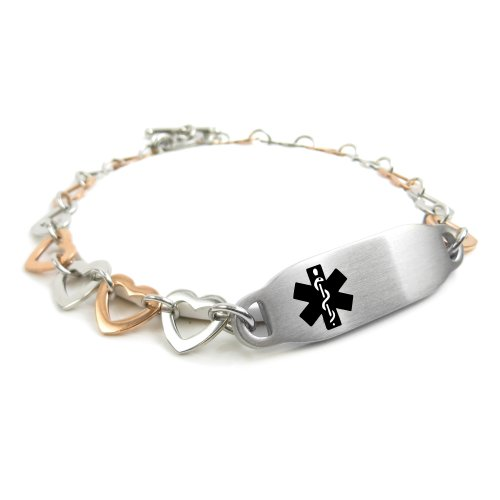 My Identity Doctor - Pre-Engraved & Customizable No Blood Transfusion Toggle Medical Alert Bracelet, Steel Hearts, Black