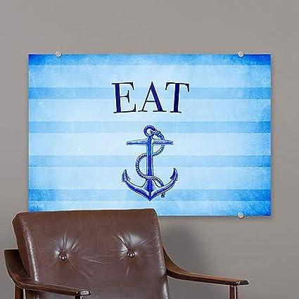 CGSignLab Eat 27x18 Nautical Stripes Premium Brushed Aluminum Sign