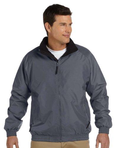 Harriton Fleece-Lined Nylon Jacket, 3XL, GRAPHITE/ BLACK