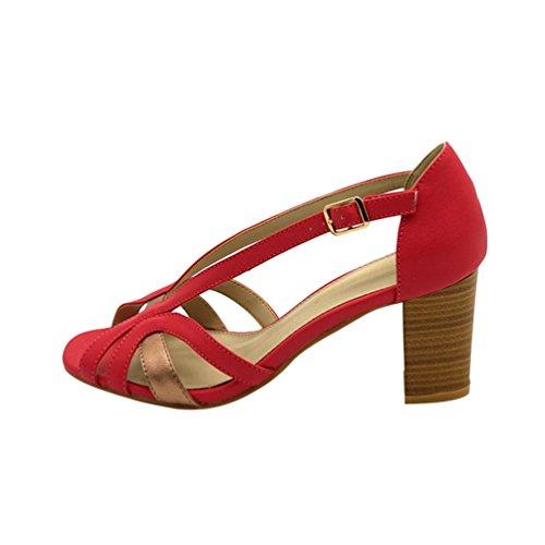 Dexinx Damen Casual Peep Toes Schuhe mit Hohen Absätzen Sommer Mode Cool Riemchen Sandalen Rot