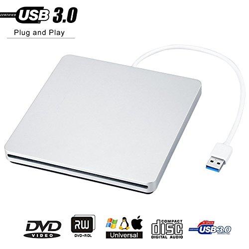 (GEEKLIN External CD Drive,USB 3.0 CD/DVD-RW Drive, Slim High Speed CD Player Burner for Macbook Air Pro/Air/iMac and Laptop Desktops Support Windows/Vista/7/8.1/10, Mac OSX)