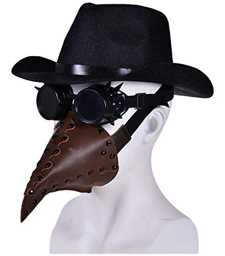L'VOW Plague Doctor Bird Mask Welding Goggles Funny Party Hats Steampunk Halloween Costume Props Sets (Type G)]()
