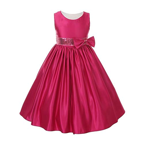 KiKi Kids USA Little Girls Fuchsia Satin Sequin Waist Flower Girl Special Occasion Dress 6 from KiKi Kids USA