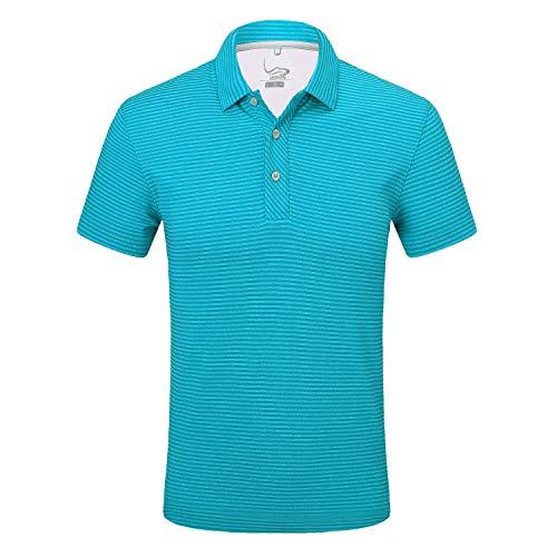 (EAGEGOF Regular Fit Men's Shirt Stretch Tech Performance Golf Polo Shirt Short Sleeve L Stripes Green)