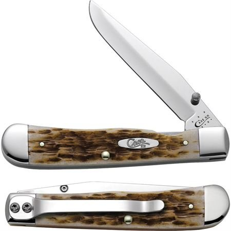 Case Amber Bone CV Trapperlock Pocket Knife with Clip