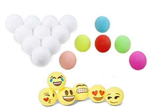 100 Assorted Beer Pong Balls 6 Free Emoji Ping-Pong Balls Washable Plastic