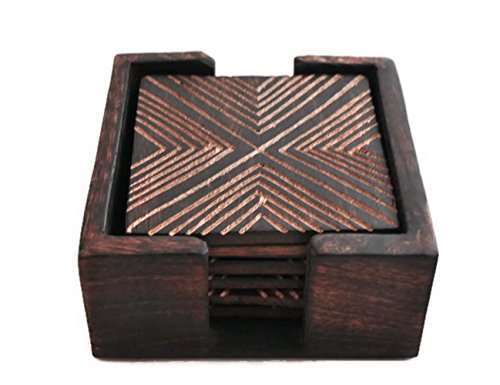 StarZebra Novelty Item Amazing Handmade Retro Wooden Coaster Set with 6 Square Table Coasters and Wooden Holder