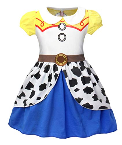 MetCuento Girls Dress Jessie Costume Toddler Cowgirl Dress Up Halloween Cosplay Theme Party Outfit Size 5(4-5 Years) -
