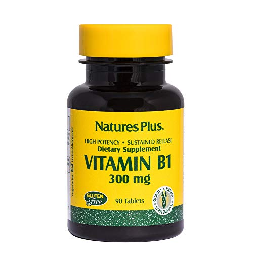 Natures Plus Vitamin B1 (Thiamin HCI) - 300 mg, 90 Vegetarian Tablets, Sustained Release - Energy Booster, Anti-Aging, Memory, Immune System Support Supplement - Gluten Free - 90 Servings