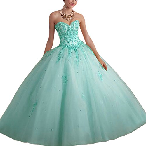 Vnaix Bridals Princess Lace with Tulle Sweet 16 Prom Quinceanera Dress(26w,Turquoise)